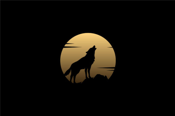 Print on Demand: Howling Wolf Silhouette Golden Moon Logo Graphic Logos By Enola99d - Image 1