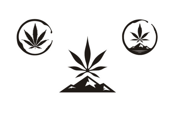 Print on Demand: Hemp Cannabis CBD Mountain Stain Logo Graphic Logos By Enola99d