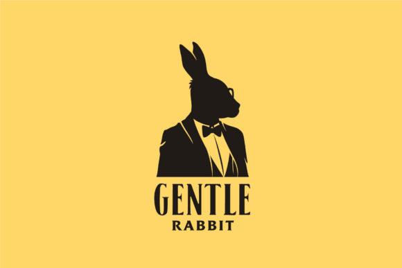 Print on Demand: Rabbit Businessman Tuxedo Silhouette Graphic Logos By Enola99d