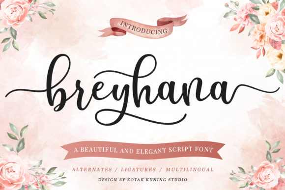 Download Free Breyhana Font By Kotak Kuning Studio Creative Fabrica for Cricut Explore, Silhouette and other cutting machines.