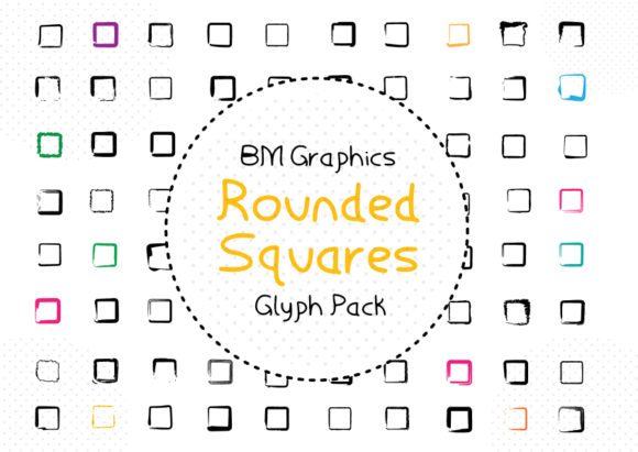 Print on Demand: Rounded Squares Dingbats Font By GraphicsBam Fonts - Image 1