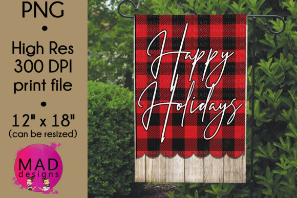 Garden Flag - Happy Holidays Plaid Graphic Crafts By maddesigns718