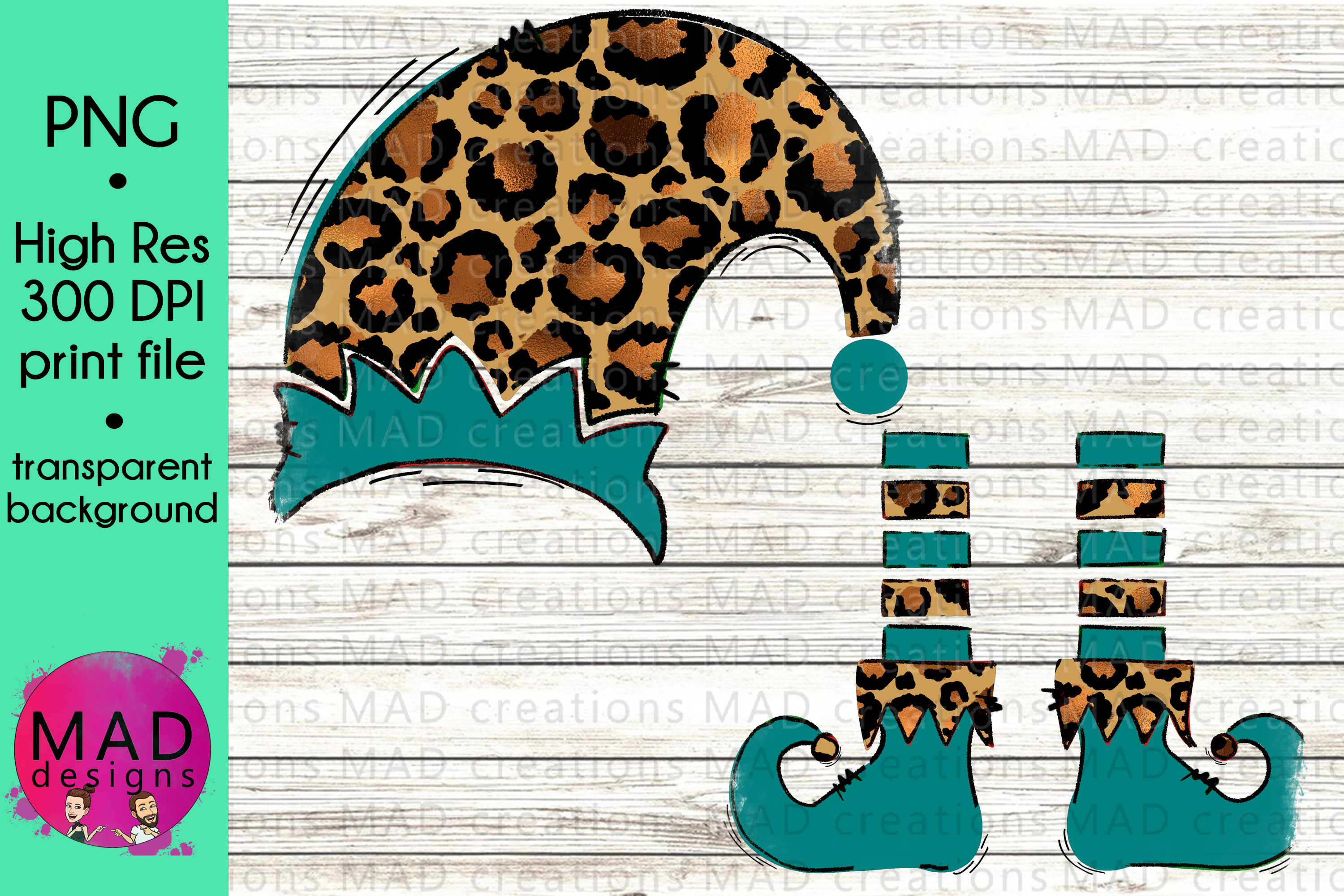 Download Free Leopard Print And Teal Christmas Elf Graphic By Maddesigns718 for Cricut Explore, Silhouette and other cutting machines.