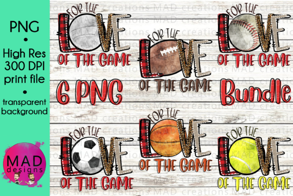 For the Love of the Game Sports Bundle Graphic Crafts By maddesigns718