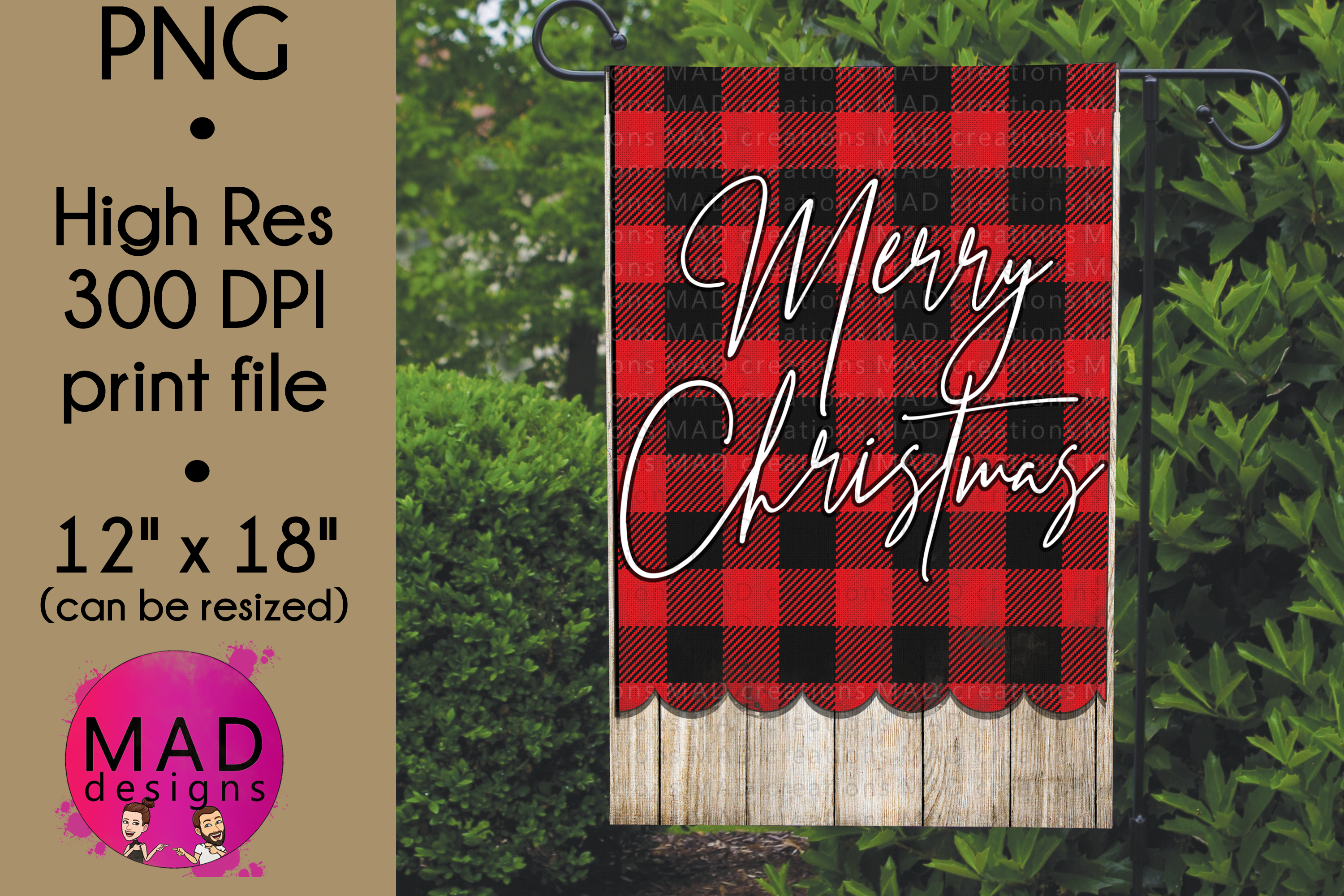 Download Free Garden Flag Merry Christmas Plaid Graphic By Maddesigns718 SVG Cut Files