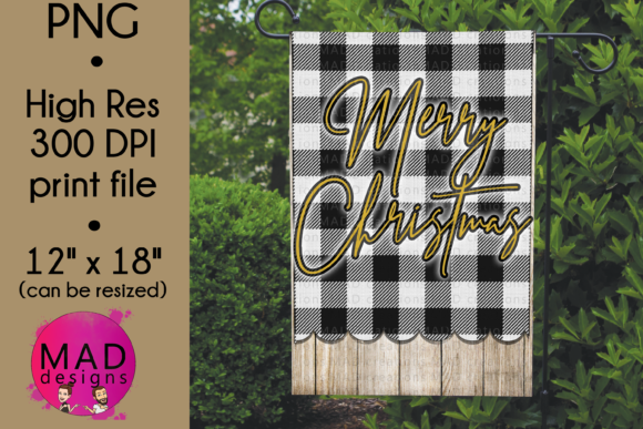 Garden Flag - Merry Christmas Plaid Graphic Crafts By maddesigns718
