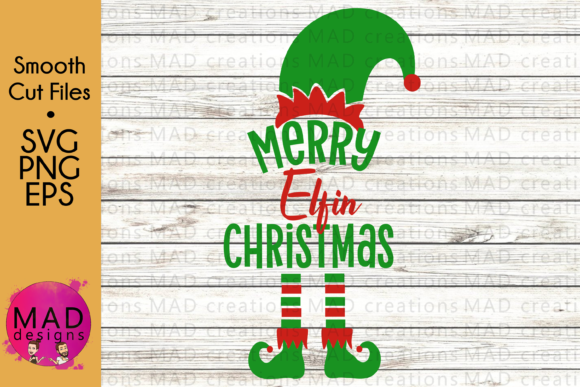 Christmas Graphic.Merry Elfin Christmas