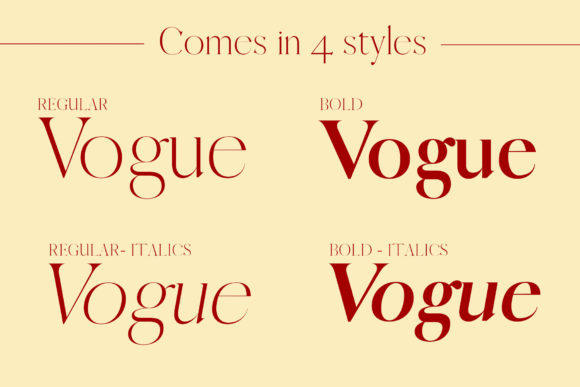 Print on Demand: Vogue Serif Font By denestudios - Image 2