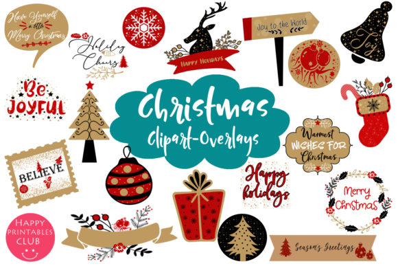 Print on Demand: Christmas Clipart  Christmas Overlays Graphic Illustrations By Happy Printables Club