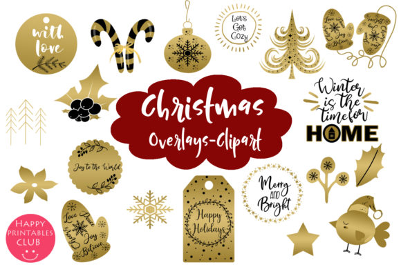 Christmas Clipart Overlays Graphics Graphic Illustrations By Happy Printables Club