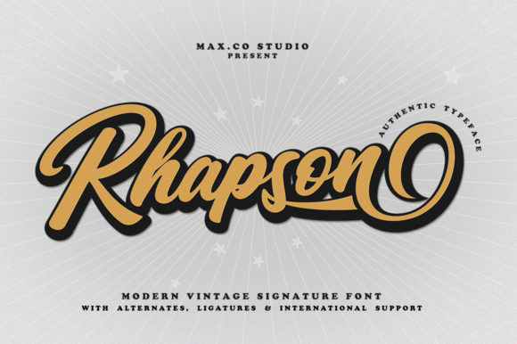 Print on Demand: Rhapson Script Script & Handwritten Font By Max.co