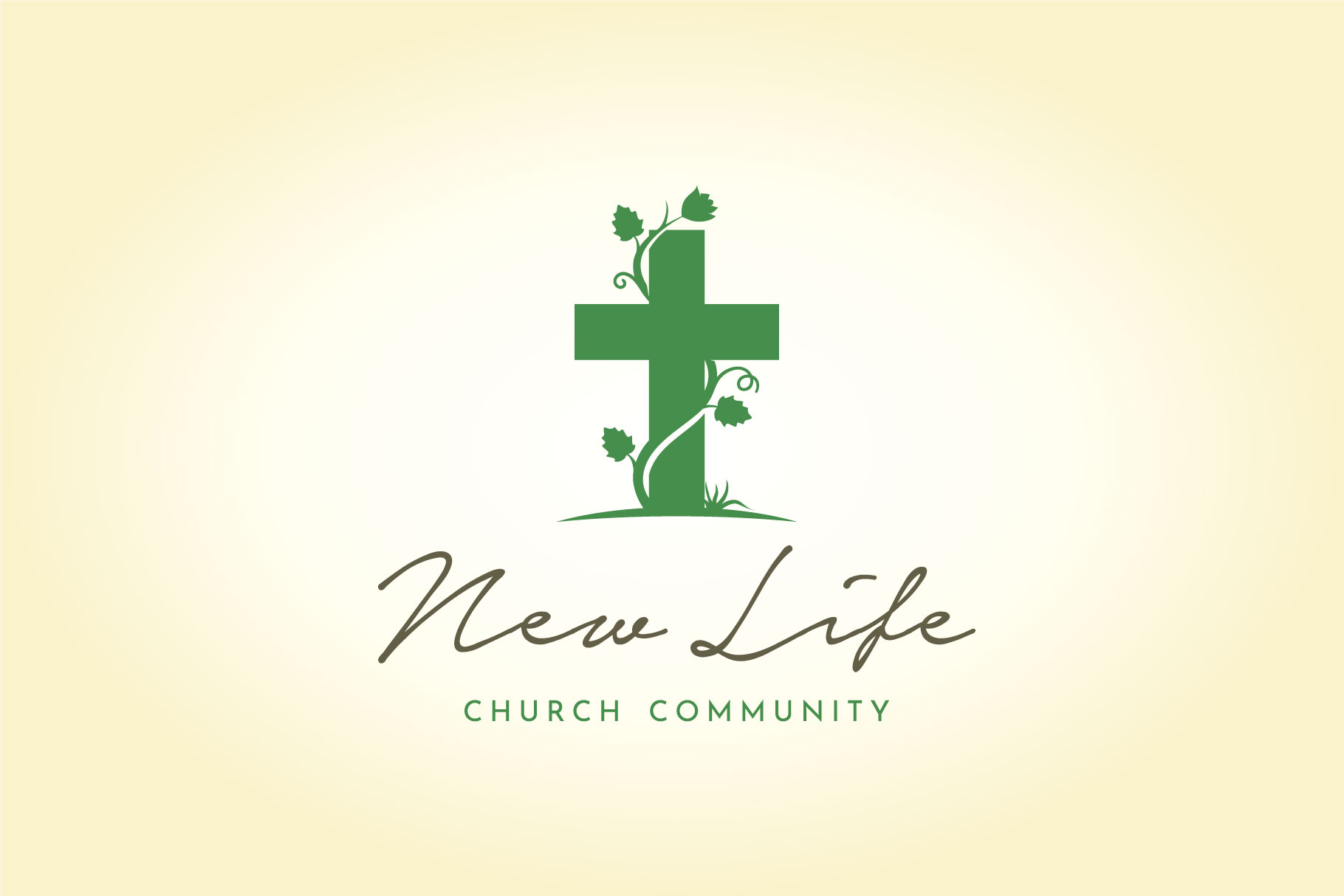 Download Free Vines Leaf Christian Cross Church Logo Graphic By Enola99d for Cricut Explore, Silhouette and other cutting machines.