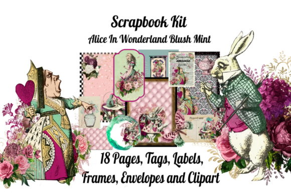 Print on Demand: Alice in Wonderland Scrapbook Kit Blush Graphic Illustrations By Scrapbook Attic Studio