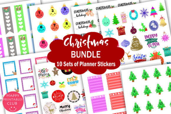 Print on Demand: Christmas Planner Stickers Bundle Graphic Crafts By Happy Printables Club