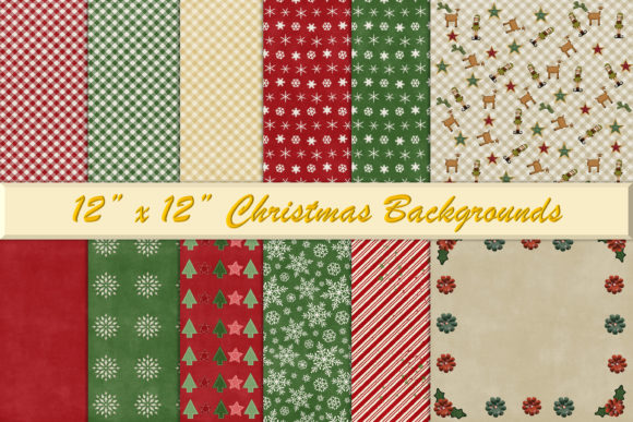 Print on Demand: Christmas Backgrounds Graphic Backgrounds By The Paper Princess