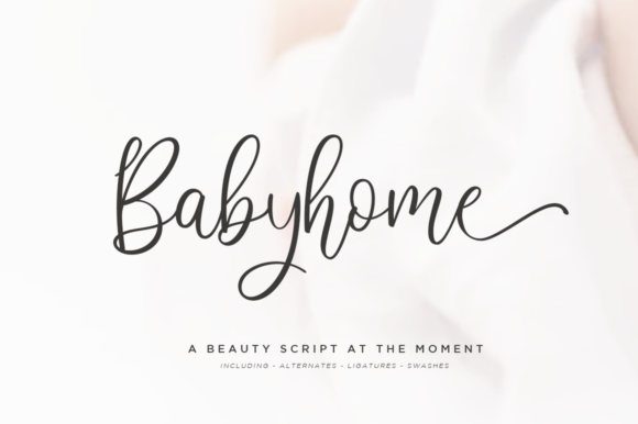Download Free Babyhome Font By Haksen Creative Fabrica for Cricut Explore, Silhouette and other cutting machines.