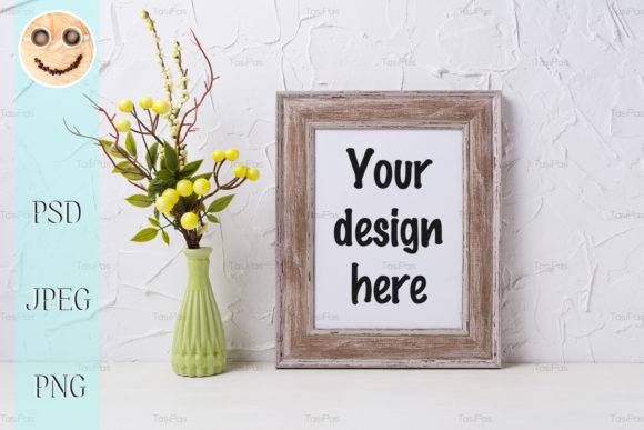 Print on Demand: Rustic Wooden Frame Mockup Graphic Product Mockups By TasiPas - Image 1