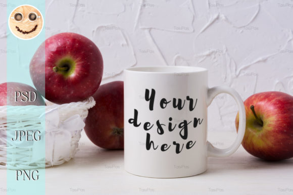 Print on Demand: White Coffee Mug Mockup with Red Apples Graphic Product Mockups By TasiPas