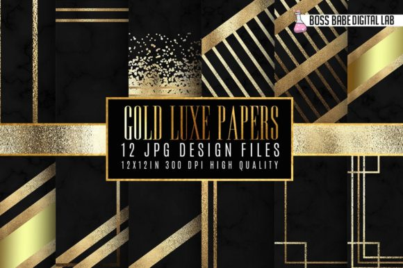 Gold Luxe Digital Papers Graphic By bossbabedigitallab