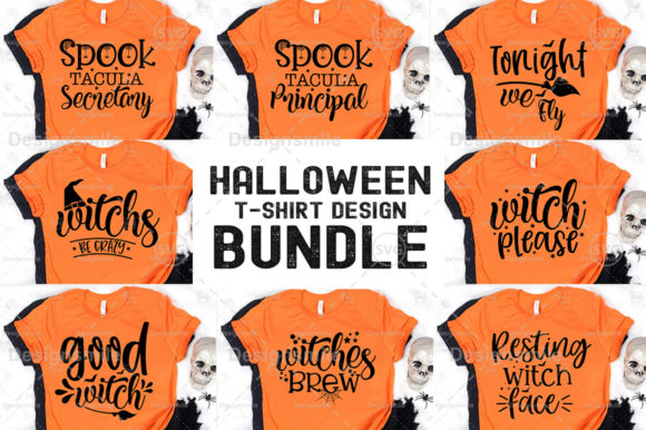 Print on Demand: Halloween T-shirt Design Bundle Graphic Print Templates By Designdealy.com