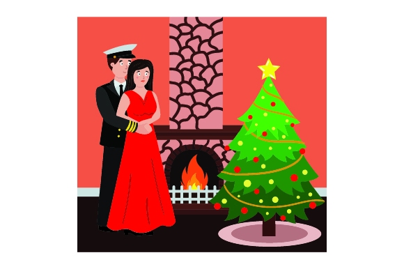 Download Free Man In Navy Outfit Woman In Red Dress Standing By Fireplace for Cricut Explore, Silhouette and other cutting machines.