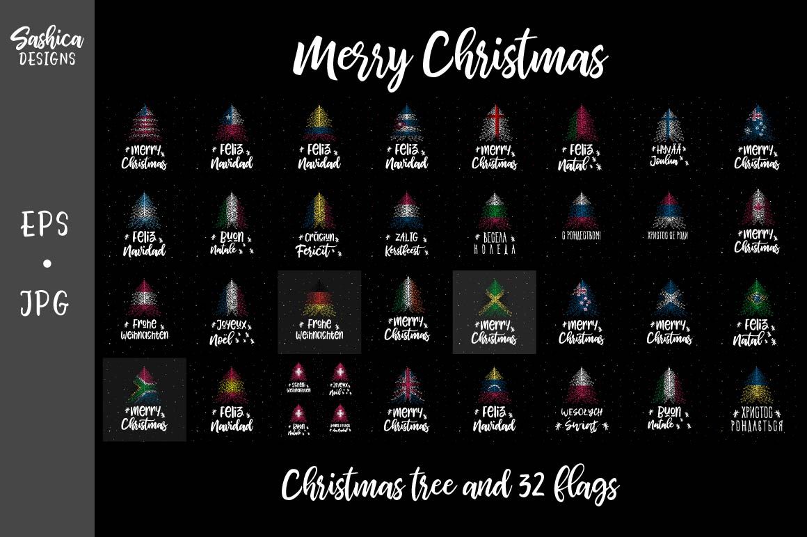 Download Free Christmas Tree Collection Graphic By Sashica Designs Creative for Cricut Explore, Silhouette and other cutting machines.