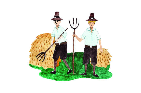 Pilgrims Farming - Watercolor Thanksgiving Craft Cut File By Creative Fabrica Crafts