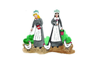 Pilgrims Feeding Chickens - Watercolor Thanksgiving Craft Cut File By Creative Fabrica Crafts