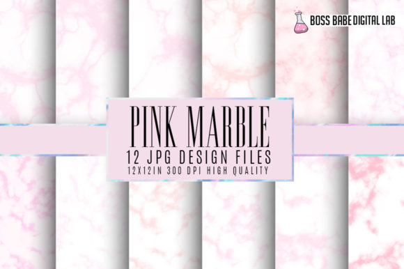 Print on Demand: Pink Marble Digital Papers Graphic Textures By bossbabedigitallab