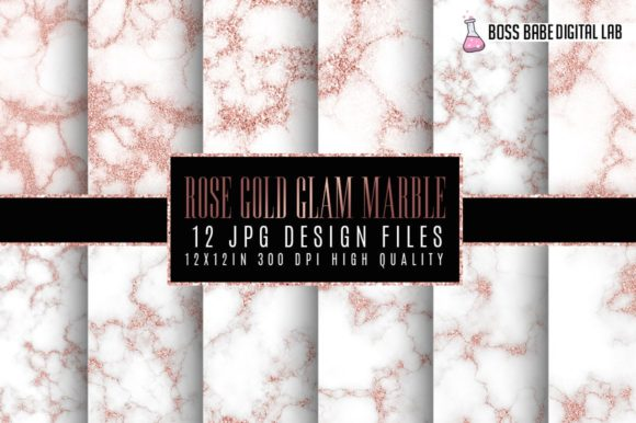 Rose Gold Glam Marble Papers Graphic By bossbabedigitallab