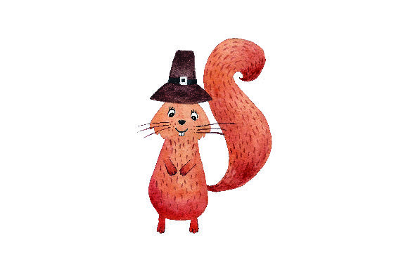 Squirrel Wearing Pilgrim Hat - Watercolor Thanksgiving Craft Cut File By Creative Fabrica Crafts