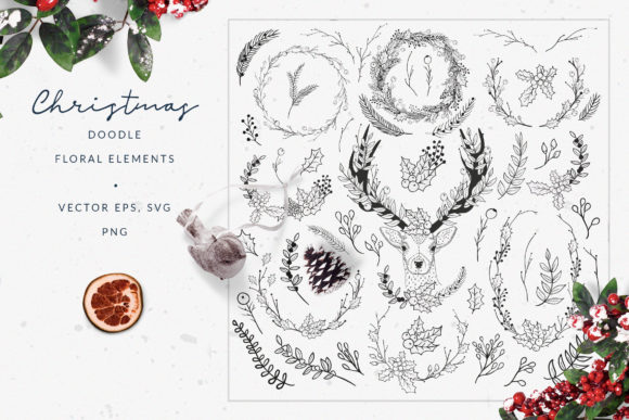 Download Free Christmas Doodle Floral Elements Graphic By Olya Creative for Cricut Explore, Silhouette and other cutting machines.