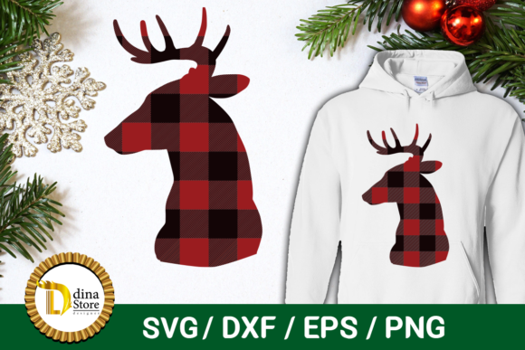 Download Free Christmas Deer Head Graphic By Dina Store4art Creative Fabrica for Cricut Explore, Silhouette and other cutting machines.