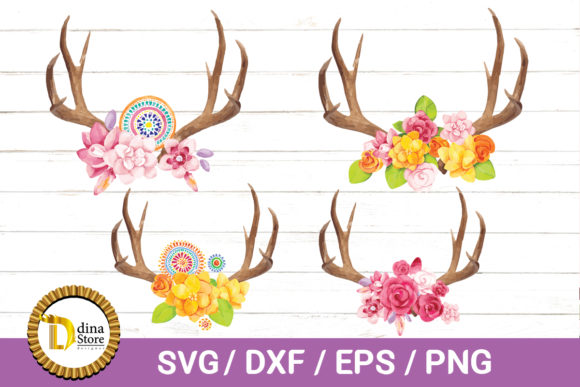 Download Free Antlers And Flowers Watercolor Floral Graphic By Dina Store4art for Cricut Explore, Silhouette and other cutting machines.
