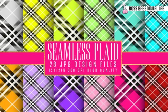 Print on Demand: Plaid Digital Papers Graphic Textures By bossbabedigitallab