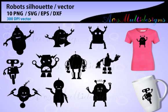 Print on Demand: Robot Silhouette Graphic Illustrations By Arcs Multidesigns - Image 1