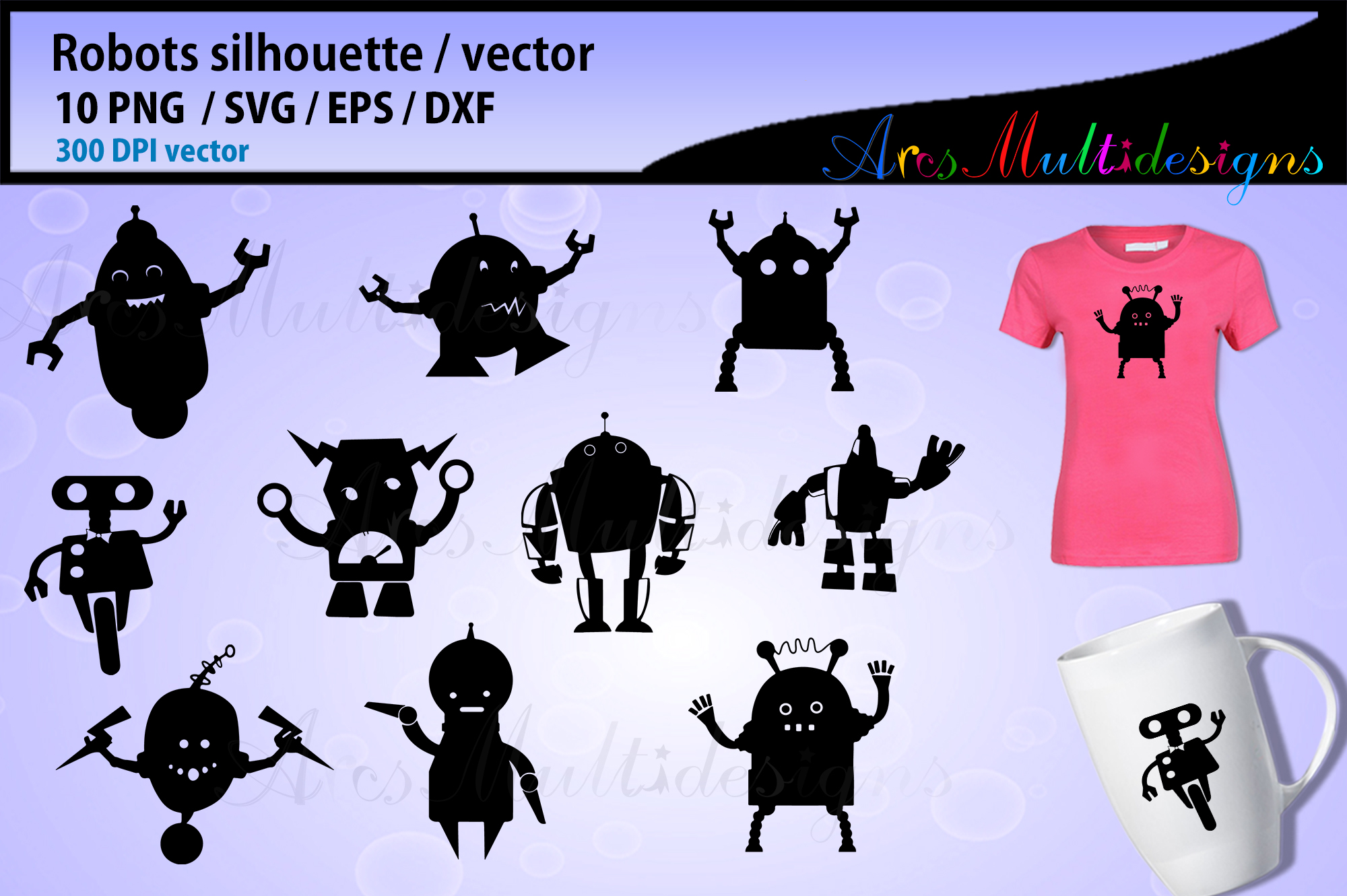 Download Free Robot Silhouette Graphic By Arcs Multidesigns Creative Fabrica for Cricut Explore, Silhouette and other cutting machines.