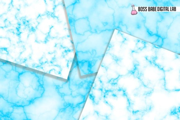 Sky Blue Marble Digital Papers Graphic By Bossbabedigitallab