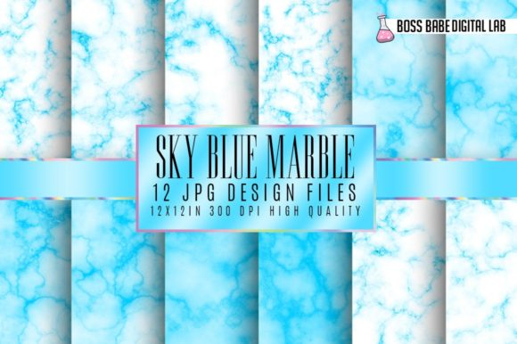 Print on Demand: Sky Blue Marble Digital Papers Graphic Textures By bossbabedigitallab