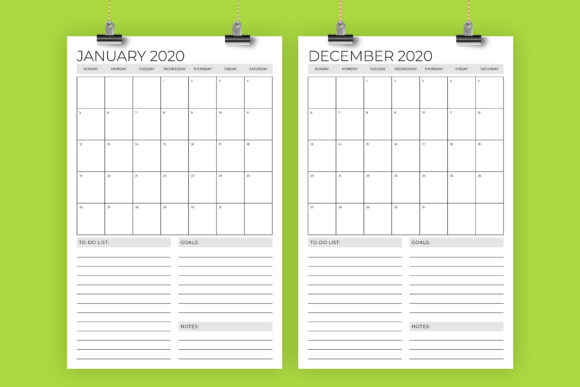 Print on Demand: Vertical 11x17 Inch 2020 Calendar Graphic Print Templates By Running With Foxes - Image 1
