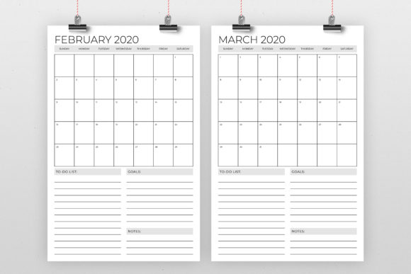 Print on Demand: Vertical 11x17 Inch 2020 Calendar Graphic Print Templates By Running With Foxes - Image 2