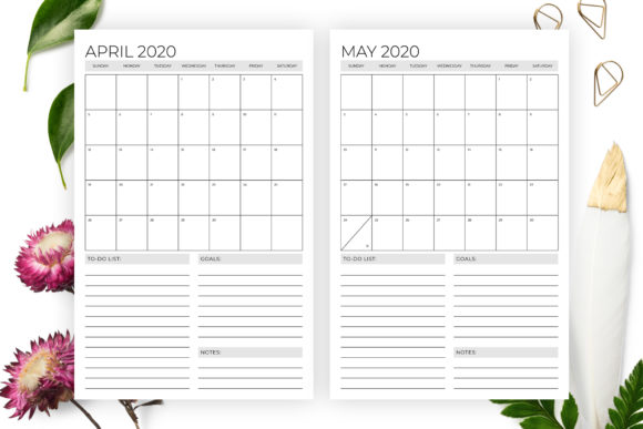 Print on Demand: Vertical 11x17 Inch 2020 Calendar Graphic Print Templates By Running With Foxes - Image 3