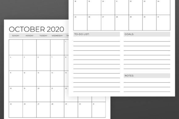 Print on Demand: Vertical 11x17 Inch 2020 Calendar Graphic Print Templates By Running With Foxes - Image 6