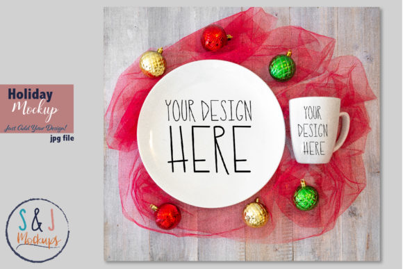 Christmas Plate and Cup Mockup Graphic Product Mockups By sandjmockups