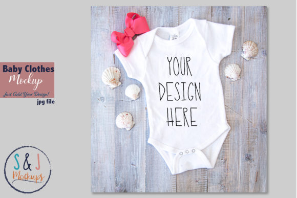 Baby Clothes Mockup Baby Bodysuit Graphic Product Mockups By sandjmockups - Image 1