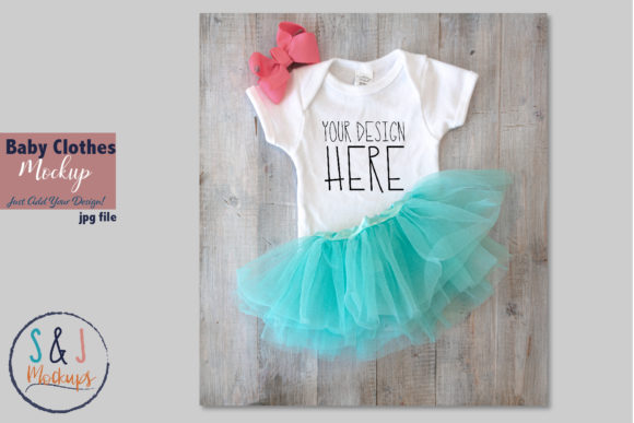 Baby Clothes Mockup Tutu and Outfit Graphic Product Mockups By sandjmockups - Image 1
