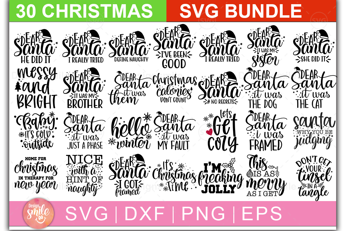 Download Free Christmas Bundle 30 Designs Graphic By Designdealy Com SVG Cut Files
