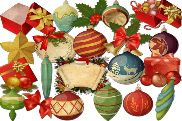 Print on Demand: Christmas Ornaments Clip Art Graphic Illustrations By retrowalldecor