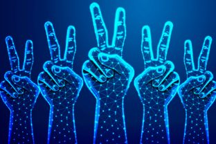 Raising Two Fingers Up on Hand to Show Graphic By ojosujono96