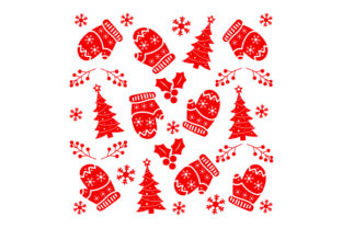 Christmas Mittens with Christmas Tree  Pattern Craft Design Por Creative Fabrica Crafts
